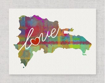 Dominican Republic Love - Colorful Watercolor Style Wall Art & Home Country Map Artwork - Adoption, Moving, Engagement, Wedding Gift