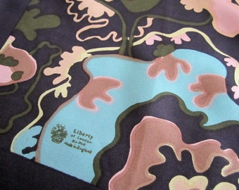 Pure Silk LIBERTY of LONDON SCARF Artistic Mod Abstract Print - Dark Brown, Aqua, Camel, Olive, Pale Pink Vintage Accessory Square Scarves
