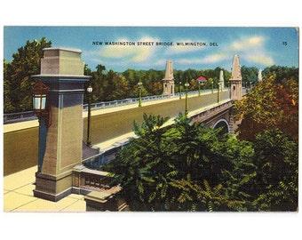 Wilmington Delaware vintage linen postcard | Washington Street Bridge, Brandywine Creek | 1930s DE travel postcard