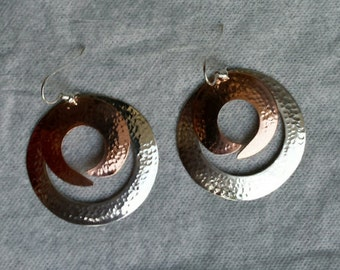 Hammered Sterling and copper earrings
