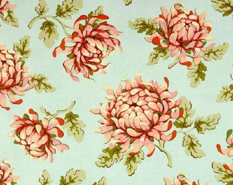 One Yard - Painted Mums - Peach with Aqua Background  - Freshcut Collection -  Quilting Cotton Fabric - Free Spirit Heather Bailey