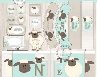 Lamb 1st Birthday, birthday kit, printables, diy, instant download, boy, baby, lamb party