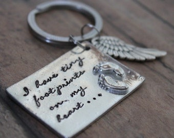Miscarriage Keychain, Hand Stamped, Personalized, Infant Loss, Memorial, Footprints, Angel Wing, Miscarriage, Loss, Key Chain, Support, Gift