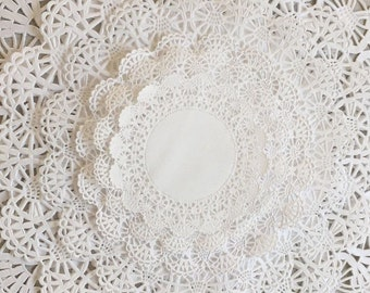 "50 Paper Lace Doilies Variety Pack 10 each of 4"", 5"", 6"", 8"", and 10"" White"