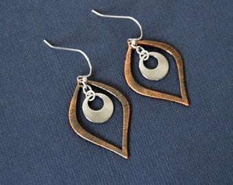 Stainless Steel Copper Teardrdop Earrings, Clip or Pierced, Dangle Earrings, Silver Drop Earrings, Teardrop Earrings, Mixed Metal Earrings