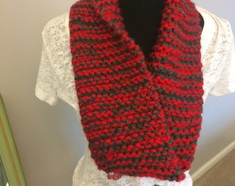 Scarlet and grey knit scarf
