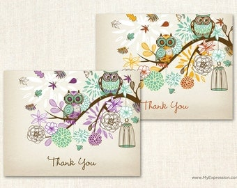 Owl Baby Shower Thank You Cards - Teal and Purple Baby Shower Thank You Cards - Set of 24 with envelopes