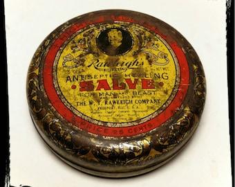 Vintage Rawleighs Antiseptic Healing Salve Tin / Collectible Tin / Medical Tin/Veterinary Tin/ Display Tin/Best Gift Idea /F947