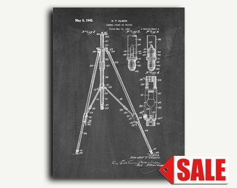 Patent Art - Camera Stand Or Tripod Patent Wall Art Print
