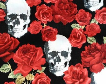 Red Roses with skulls by Timeless Treasures cotton fabric