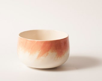 Handmade ceramic bowl with pink brushstrokes 4.7″ wide / Soup bowl