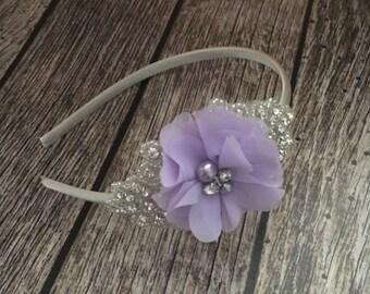 Rhinestone headband, lavender headband, pearl headband, flower girl headband, wedding headband, dressy headband, formal headband, baby headb