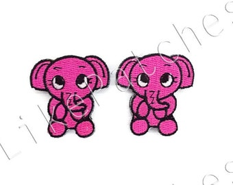 Set 2 pcs. Pink Cute Baby Elephant Cartoon New Sew / Iron On Patch Embroidered Applique Size 3.5cm.x3.7cm.