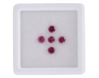 Rhodolite Garnet Round Cut Set of 5 Loose Gemstones 1A Quality 4mm TGW 1.60 cts.