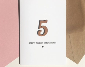 5th Anniversary Card With Wood Detail