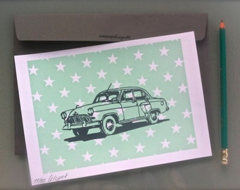 Mini-poster/ mini-screenprint. Vintage car. A5 postcard. Birthday gift/ housewarming gift/Nursery art/Baby shower gift.