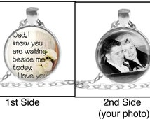 Memorial Wedding Double Two-sided Charm Bouquet Pendant Keyring / Dad I know you are walking beside me today photo Remember deceased absent
