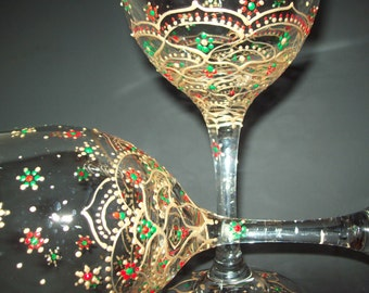 Christmas Wine Glasses, Hand Painted Wine Glasses, Holiday Wine Glasses
