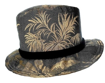 Black and Grey Top Hat, Tapestry Print, Black Velvet Band, Fantasy Chic, Tuxedo Hat, Tropical Wedding Hat, Classy Dude, Ready to Ship, Fun!