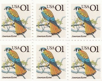 Qty of 10 American Kestrel .01 cent unused 1991 vintage postage stamps, These stamp are in excellent, unused, unhinged condition.