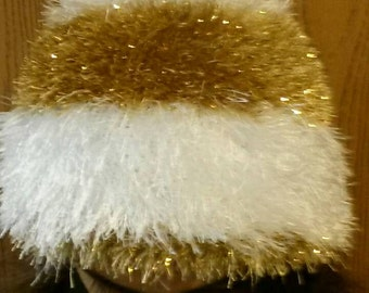 Fuzzy White and Gold Hat