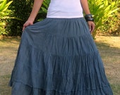 Plus Size * Extra Long Maxi Skirt * Pleated Skirt * Tiered Skirt * Crinkle Skirt  * Boho Skirt * Hippie Skirt *Gypsy Skirt* grey * XS – XXL