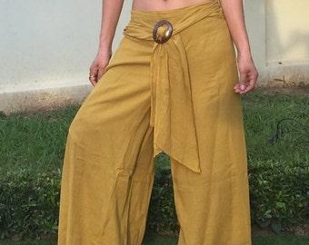 Cotton Pants with Coconut Buckle * Harem Pants * Sarouel *  Travel Pants * Gypsy Pants * Hippie Pants * Aladdin Pants * Genie Pants *PC-gold