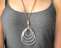 Boho Jewelry-Long BOHO Necklace-Concentric Rings Necklace-Leather and Silver Necklace-Bohemian Silver RING Necklace-Fashion Ring Necklace