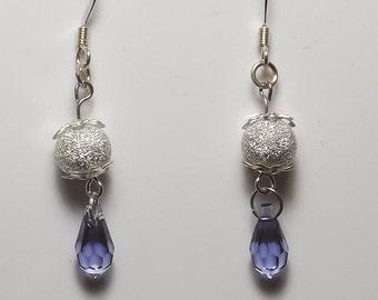 Light Purple Crystal Earrings