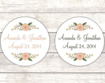 Wedding stickers - Wedding favor labels - Wedding thank you stickers - Wedding envelope seals - Rustic wedding favors (RW051)