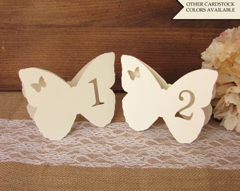 Butterfly table numbers - Table numbers wedding - Butterfly wedding - Garden wedding decor - Wedding table number