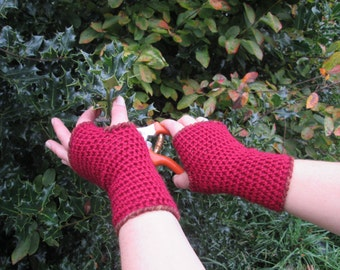 Adult red arm warmers, wrist warmers ~ wool blend ~ handmade crocheted fingerless gloves, armwarmers, wristwarmers