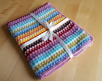 Rainbow baby blanket crochet retro baby blanket afghan, Baby blanket, lapghan.