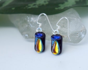 Purple and Gold Dichroic Glass Earrings