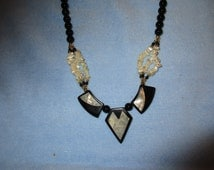 Black Garnet and White/Ivory Mother of Pearl Necklace