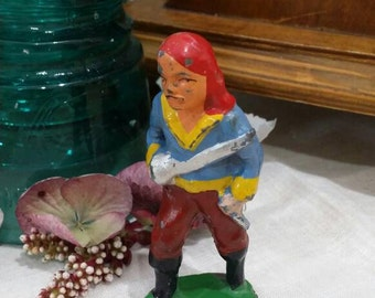 1930s Cast Iron Hand Painted Peg Leg Pirate Toy Dime Store