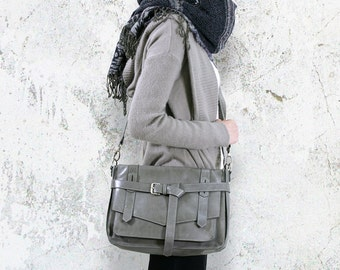 KAY Gray Leather Satchel : Leather Satchel bag / Tablet Bag / Leather Shoulder Bag / Gray Satchel / Leather Bag / Gray Bag.