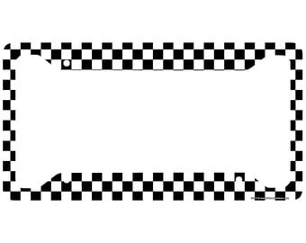 Checkered Flag License Plate Frame, Black and White Car Tag Frame, Racing License Plate Holder, Racing Flag License Plate Frame-30-717