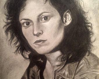 Ellen Ripley - Charcoal Portrait