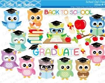 School Owls clipart , Graduation Owls , Back to School Owls clip art set