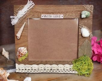 Photo frame with shells, Nautical photo frame, Handmade sea photo frame, Handmade home decor, Beach frame, Summer decor