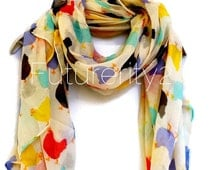 Beige Multicolour Chickens  Spring Summer / Autumn Scarf / Gift For Her / Womens Scarves / Fashion Accessories