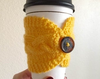 Knit Coffee Cozy \\ Yellow \\ Eco-friendly \\ Button closure cozy