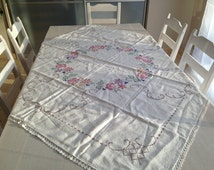 Antique embroidered table cloth Foral table cloth with lace edges Square roses table cloth Shabby cottage chic table cloth