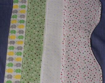 Set of 4 Contoured Baby Burp Cloths, Neutral Colors