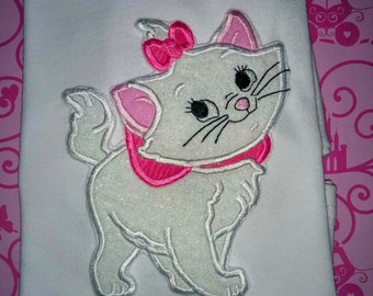 Girls Marie Aristocats Cat Kitty Kitten Girl Boutique Birthday Embroidered Applique T-Shirt Tshirt Shirt Birthday Party Baby Toddler