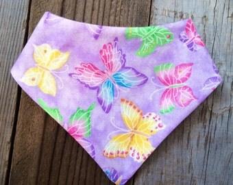 Purple butterfly baby bandana bib, butterfly baby bib, butterfly bandana bib