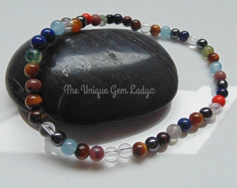 Mixed Gemstone 4mm Round Bead Beaded Stretch Bracelet Handmade With Love