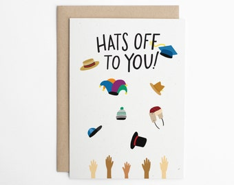 Graduation Card, Hats Off to You! Congratulations Card, Congrats, Cute Graduation Card, Achievement Card, School Card/C-302