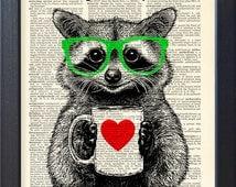 Raccoon print, tea time, DICTIONARY Print, art poster, mug of tea, Book pages, Dorm decor, Gift poster, Wall decor, CODE/172